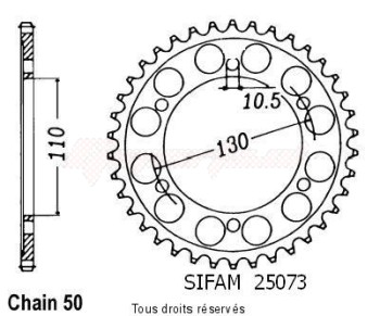 Product image: Sifam - 25073CZ47 - Chain wheel rear Yzf r1 09-   Type 530/Z47