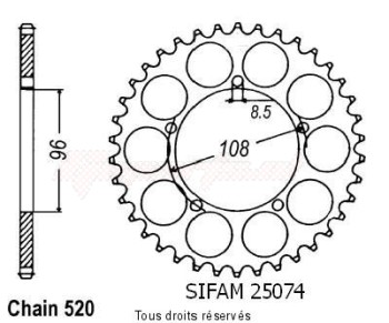 Product image: Sifam - 25074CZ40 - Chain wheel rear 125 Tuareg Wind 89-   Type 520/Z40