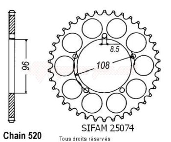 Product image: Sifam - 25074CZ41 - Chain wheel rear 125 Tuareg Wind 87-88   Type 520/Z41