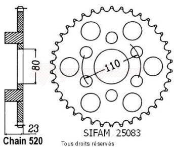 Product image: Sifam - 25083CZ36 - Chain wheel rear 125 Af1 87-89   Type 520/Z36