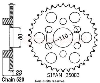 Product image: Sifam - 25083CZ37 - Chain wheel rear 125 Af1 Replica 89-90   Type 520/Z37