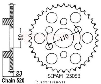 Product image: Sifam - 25083CZ38 - Chain wheel rear 125 Af1 Futura/Europa   Type 520/Z38