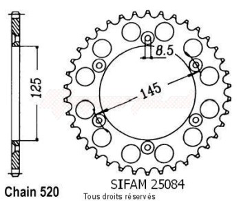 Product image: Sifam - 25084CZ40 - Chain wheel rear 125 Tamanaco 88-91   Type 520/Z40