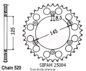 Product image: Sifam - 25084CZ42 - Chain wheel rear 125 N 90 90-92   Type 520/Z42