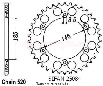 Product image: Sifam - 25084CZ44 - Tandwiel Achter 125 K7/W8 90-95 42