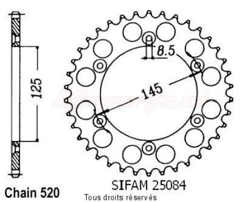 Product image: Sifam - 25084CZ46 - Chain wheel rear 125 W8 R 91-95   Type 520/Z46