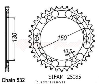 Product image: Sifam - 25085CZ38 - Chain wheel rear Xjr 1200 95-98   Type 532/Z38
