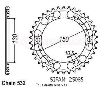 Product image: Sifam - 25085CZ46 - Chain wheel rear Yzf 1000 R 96-97 Fzr 1000 Genesis 87-88 Type 532/Z46