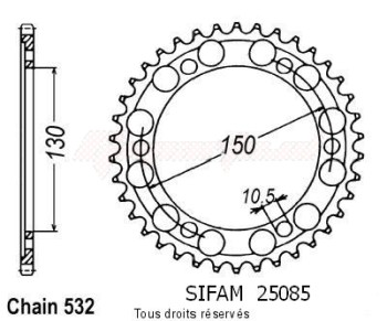 Product image: Sifam - 25085CZ47 - Chain wheel rear Fzr 1000 Exup 89-97 Gts 1000 93-97 Type 532/Z47