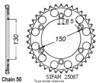 Product image: Sifam - 25087CZ40 - Chain wheel rear Nsr 400 F 85-88   Type 530/Z40