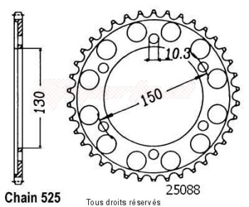 Product image: Sifam - 25088CZ42 - Chain wheel rear Tdm 900 2002   Type 525/Z42