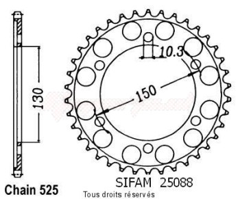 Product image: Sifam - 25088CZ46 - Chain wheel rear FZ8 Fazer8   Type 525/Z46