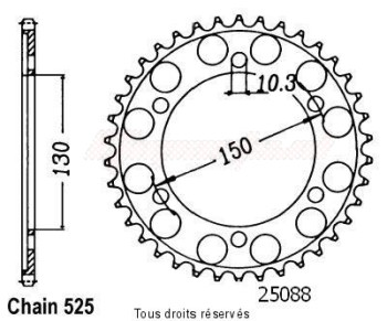 Product image: Sifam - 25088CZ49 - Chain wheel rear Xrv 650 A-twin 88-92   Type 525/Z49