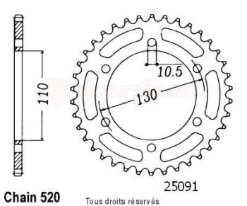 Product image: Sifam - 25091CZ41 - Chain wheel rear Gpz 500 Ex/S 94-00   Type 520/Z41