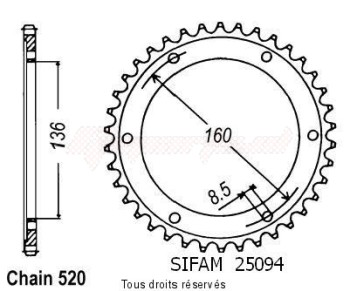 Product image: Sifam - 25094CZ42 - Chain wheel rear 600 Pegaso 90-92 600 Tuareg Wind 87-89 Type 520/Z42