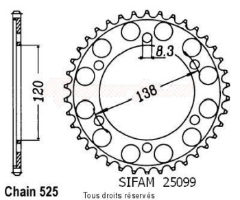 Product image: Sifam - 25099CZ40 - Chain wheel rear Rc45 Rvf 750 R 94-98 Rc30 Vfr 750 R 88-92 Type 525/Z40