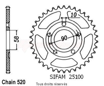 Product image: Sifam - 25100CZ35 - Chain wheel rear Nsr 125 90-98   Type 520/Z35