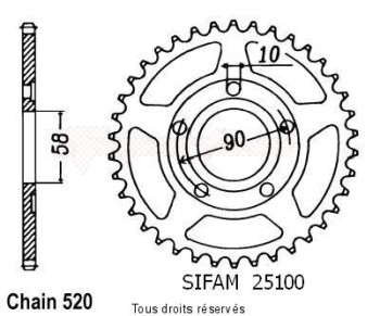 Product image: Sifam - 25100CZ38 - Sprocket rear Crm 125 90-95 35