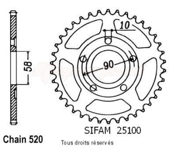 Product image: Sifam - 25100CZ40 - Chain wheel rear Crm 125 90-00   Type 520/Z40