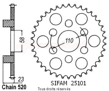 Product image: Sifam - 25101CZ41 - Chain wheel rear 125 Red Rose 88-95   Type 520/Z41