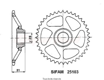 Product image: Sifam - 25103CZ43 - Chain wheel rear Rs 50 93-98 Type 415   Type 415/Z43