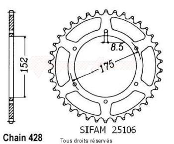 Product image: Sifam - 25106AZ54 - Chain wheel rear Suzuki Dr125 Alu Type 428/Z54