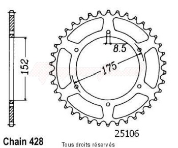 Product image: Sifam - 25106CZ53 - Chain wheel rear Yamaha Dtr/Tdr 125 89-92 Type 428/Z53