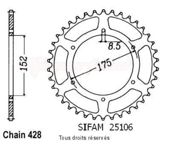 Product image: Sifam - 25106CZ55 - Chain wheel rear Yamaha Dtr 125 88-92 Type 428/Z55