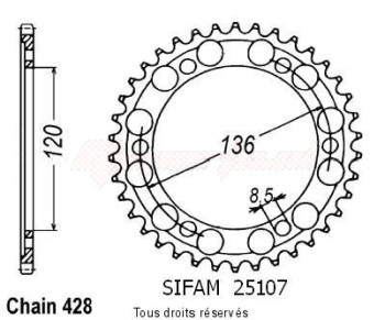 Product image: Sifam - 25107CZ44 - Chain wheel rear Yamaha Fzr 400 Rr 91-95 Type 525/Z44