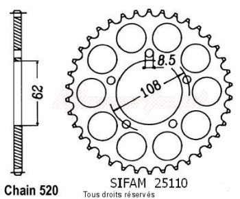 Product image: Sifam - 25110CZ40 - Chain wheel rear 125 Pegaso 89-98   Type 520/Z40
