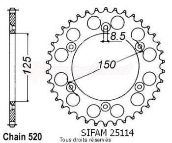 Product image: Sifam - 25114AZ38 - Chain wheel rear KTM Alu 125/250/600 1990-2004 Type 520/Z38