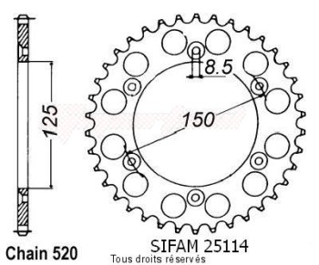 Product image: Sifam - 25114AZ40 - Chain wheel rear KTM Alu 125/250/600 1990-2004 Type 520/Z40
