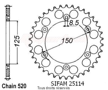Product image: Sifam - 25114AZ45 - Chain wheel rear KTM Alu 125/250/600 1990-2004 Type 520/Z45