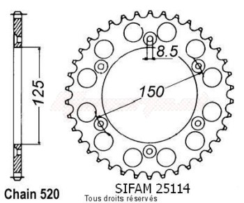 Product image: Sifam - 25114CZ40 - Chain wheel rear KTM Steel 125/250/600 1990-2004 Type 520/Z40