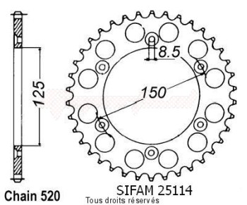 Product image: Sifam - 25114CZ42 - Chain wheel rear KTM Steel 125/250/600 1990-2004 Type 520/Z42
