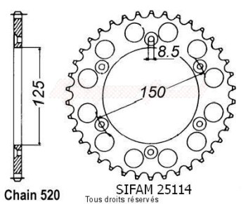 Product image: Sifam - 25114CZ45 - Chain wheel rear KTM Steel 125/250/600 1990-2004 Type 520/Z45