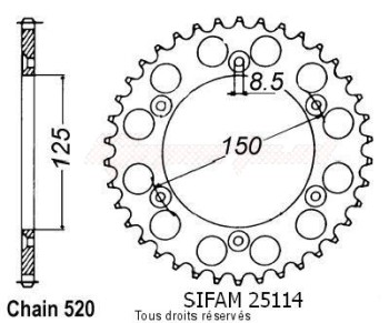 Product image: Sifam - 25114CZ48 - Chain wheel rear KTM Steel 125/250/600 1990-2004 Type 520/Z48