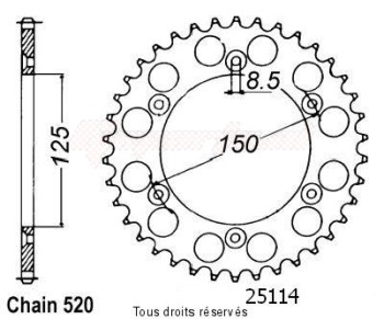 Product image: Sifam - 25114CZ50 - Chain wheel rear KTM Steel 125/250/600 1990-2004 Type 520/Z50