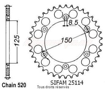 Product image: Sifam - 25114CZ52 - Chain wheel rear KTM Steel 125/250/600 1990-2004 Type 520/Z52