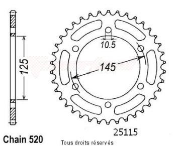 Product image: Sifam - 25115CZ47 - Chain wheel rear Yamaha Mt03 06-   Type 520/Z47