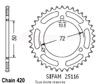 Product image: Sifam - 25116CZ36 - Chain wheel rear Nsr 50 89-94   Type 420/Z36