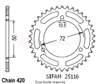 Product image: Sifam - 25116CZ42 - Chain wheel rear Nsr 50 89-94   Type 420/Z42