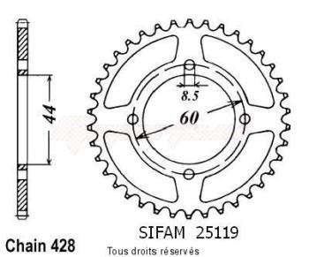 Product image: Sifam - 25119CZ41 - Chain wheel rear Dt 80 Mx Espagne 84-8   Type 428/Z41