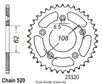 Product image: Sifam - 25120CZ39 - Chain wheel rear Rs 125 Extrema 93-98   Type 520/Z39