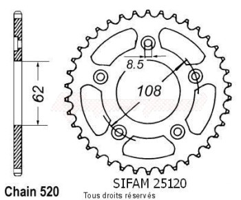 Product image: Sifam - 25120CZ40 - Chain wheel rear Aprilia 125 Rs 99   Type 520/Z40