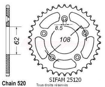 Product image: Sifam - 25120CZ41 - Chain wheel rear 125 Mito 92-98   Type 520/Z41