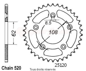 Product image: Sifam - 25120CZ42 - Chain wheel rear 125 Supercity 91-97   Type 520/Z42