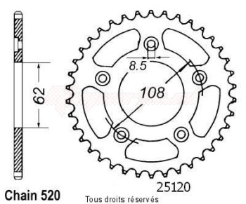 Product image: Sifam - 25120CZ43 - Chain wheel rear 125 Mito 90-92  Plane 600 River 95-98 Type 520/Z43