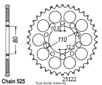 Product image: Sifam - 25122CZ40 - Chain wheel rear Cb 750 Sevenfyfty 92-   Type 525/Z40