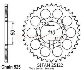 Product image: Sifam - 25122CZ42 - Chain wheel rear Triumph 800 America   Type 525/Z42